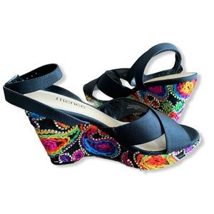 J RENEE Viollette Strappy Wedge Sandals Embroidery